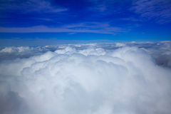 Sea of clouds sky aircraft view Stock Photos