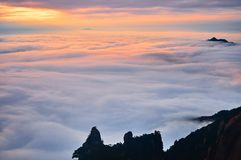 Sea of clouds in sunset Royalty Free Stock Images