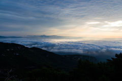 Sea of clouds. The view from the top is wonderful stock images