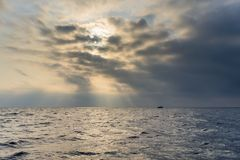 The sea in cloudy and foggy weather Royalty Free Stock Images