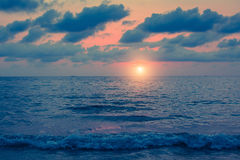 Sea in cloudy weather at dusk. Nature. Royalty Free Stock Image