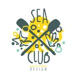 Sea club logo design, summer travel and sport hand drawn colorful vector Illustration. Badge for yacht club, sailing sports or marine travel Royalty Free Stock Photos