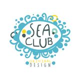 Sea club logo design, summer travel and sport hand drawn colorful vector Illustration. For stickers, banners, cards, advertisement, tags Stock Photography