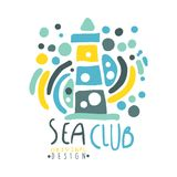 Sea club logo design, summer travel and sport hand drawn colorful vector Illustration. For stickers, banners, cards, advertisement, tags Royalty Free Stock Image