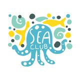 Sea club logo, summer travel and sport hand drawn colorful vector Illustration. Badge for yacht club, sailing sports or marine travel Royalty Free Stock Images