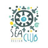 Sea club original logo design, summer travel and sport hand drawn colorful vector Illustration Royalty Free Stock Images