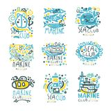 Sea club set for label design. Yacht club, sailing sports or marine travel hand drawn colorful vector Illustrations. For stickers, banners, cards, advertisement Stock Photography