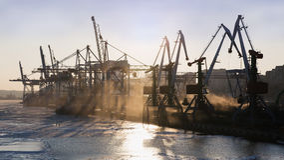 Sea coal terminal. Vladivostok, Primorsky Region, Russia - February 1-th, 2016: Vladivostok port, the coal terminal in operating time Stock Photography