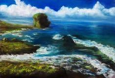 Sea coast. Pastel painting about sea coast Stock Images