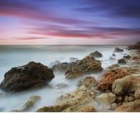 Sea coast. The sea removed on long endurance Stock Photography