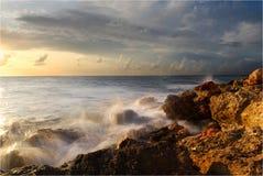 Sea coast. The sea removed on long endurance Stock Images