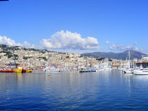 Sea coast. Panoramic view Liguria sea coast,Genoa port Stock Photos