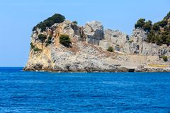 Palmaria island, La Spezia, Italy. Rocky sea coast and quarry on Palmaria island near Portovenere (Gulf of Poets, Cinque Terre National Park, La Spezia Royalty Free Stock Images