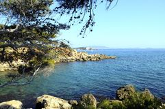 Sea and coast in Bandol, France. Vertical landscape of Sea and coast in Bandol, French riviera, France Royalty Free Stock Photo