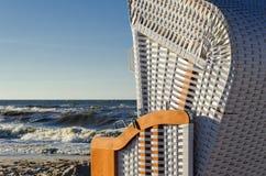 SEA COAST. Beach basket on the sea beach Royalty Free Stock Photo