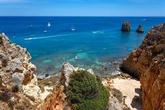 Beautiful azure sea coast and sand beach. Sea coast and beautiful beach stock images