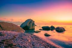 Sea coast at sunset. Scenic sea landscape stock photos