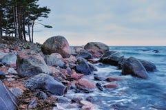 Sea coast with boulders Stock Image
