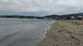 Sea coast on a calm day and cloudy sky. Çanakkale stock photo