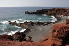 Sea coast on canary island Lanzarote Royalty Free Stock Images