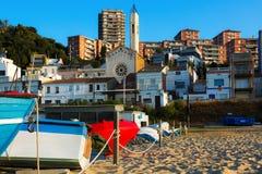 Sea coast of catalan town. Montgat Royalty Free Stock Image