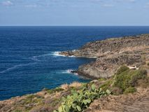 Sea, coast and cliff of Pantelleria, Sicily, Italy, beautiful mediterranean island stock photos