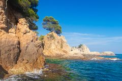Sea coast in Costa brava, Lloret de Mar. Near Cala de Boadella beach stock photos