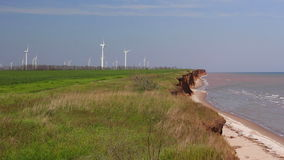 Sea coast and farm of wind mill turbines. Green energy generation background. Ocean coast and farm of wind mill turbines along the shore beautiful landscape stock video