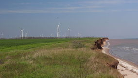 Sea coast and farm of wind mill turbines. Green energy generation background. Ocean coast and farm of wind mill turbines along the shore beautiful landscape stock footage