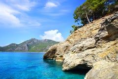 Sea coast with forest near Oludeniz. Stock Image