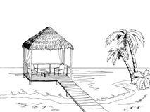 Sea coast graphic art black white landscape illustration Royalty Free Stock Photography