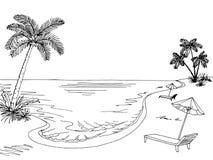 Sea coast graphic black white landscape sketch illustration Stock Photo