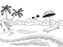 Sea coast graphic black white landscape sketch illustration Royalty Free Stock Photo