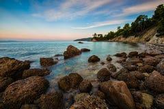 Sea coast of the Greek island Evia Stock Photos