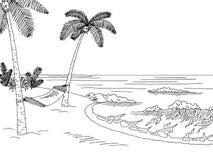 Sea coast hammock graphic black white landscape sketch illustration Stock Image