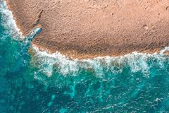 Sea coast on the island, aerial view from above top.  royalty free stock photography