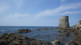 The sea coast of Italy. The view to the Torre Prarola/ Italy Stock Photography