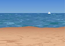 Sea coast, lonely sail in the distance. stock illustration