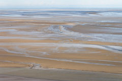 Sea coast at low tide, Saint Michael`s, France Royalty Free Stock Images
