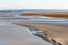 Sea coast at low tide, Saint Michael`s, France Stock Photography