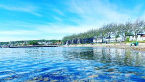 Sea coast in Moss Norway. Houses and trees on the sea coast in Moss, Norway Stock Photo