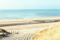 Sea coast in Noordwijk, Netherlands. Sandy dunes on the sea coast in Noordwijk, Netherlands, Europe stock image