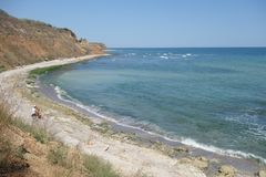 Sea coast at the north of Vama Veche resort at the Black Sea in Romania Royalty Free Stock Photography