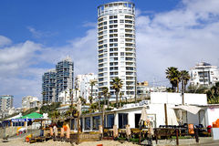 Sea coast and panorama of new modern built city Bat-Yam Royalty Free Stock Image