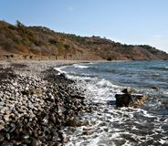 Sea coast with pebbles,stones.Beautiful landscape. Stock Photos