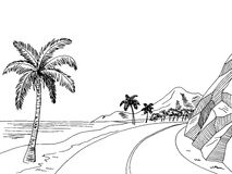 Sea coast road graphic art black white landscape sketch illustration Royalty Free Stock Image