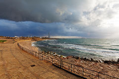 Sea Coast and Ruins of Caesarea Maritima, Israel Stock Images
