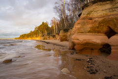 Sea coast with sandstone cliffs Royalty Free Stock Photography