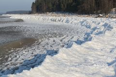 Sea coast with snow and ice Royalty Free Stock Images