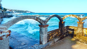 Sea coast and splashes of surf (Bulgaria). Stock Photos